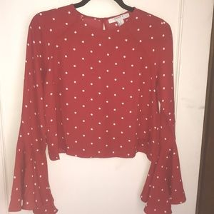 Red and White Polka Dot Bell Sleeve Top